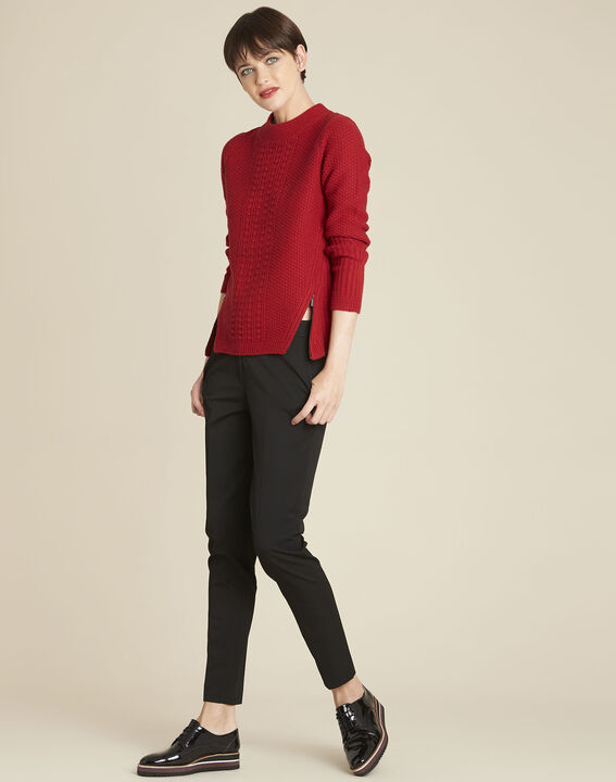 Brindille red high collar wool mix pullover (2) - 1-2-3