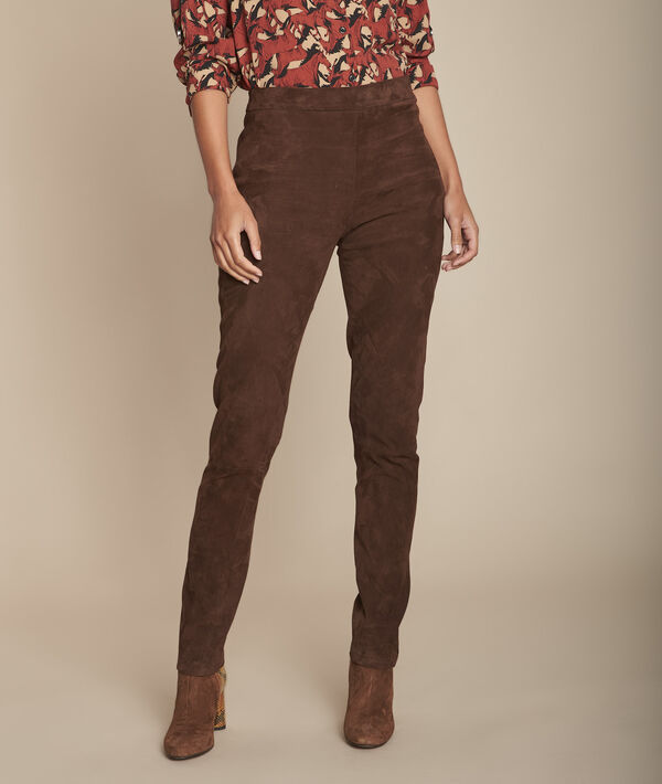 Pantalon legging marron en cuir velours Elsa PhotoZ   1-2-3