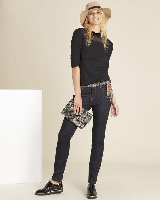 Tee-shirt noir col claudine Gwendoline (1) - 1-2-3