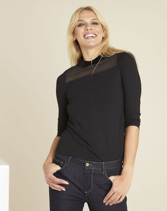 Gwendoline black t-shirt with peter pan collar black.