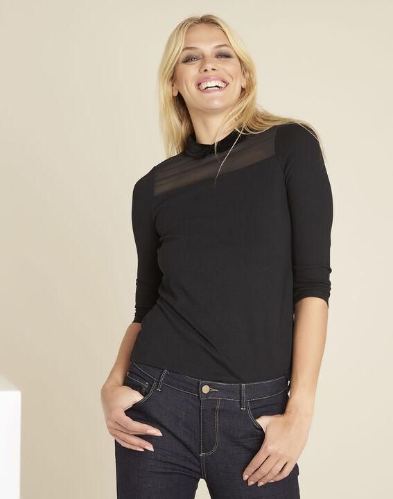 Tee-shirt noir col claudine Gwendoline - Maison Cent Vingt-Trois b618a7209c9