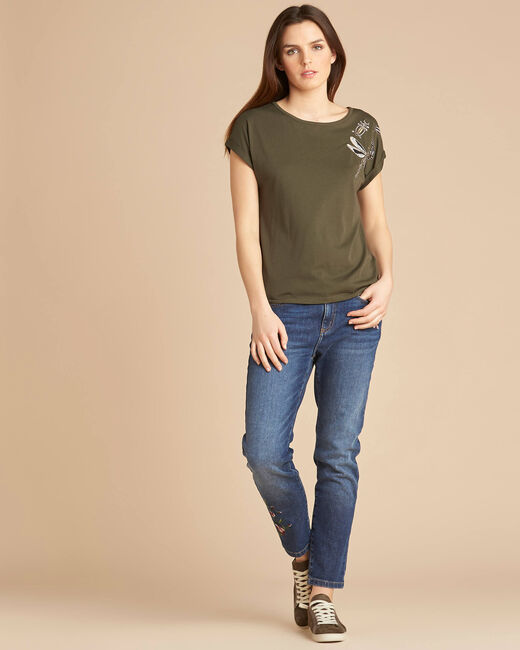 Khakifarbenes Kurzarm-T-Shirt mit Stickereien Epirrhoe (1) - 1-2-3