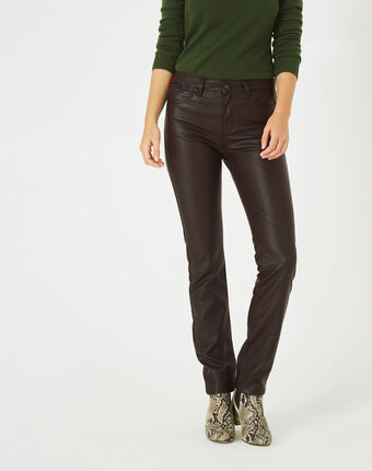 Pantalon chocolat slim faux cuir william mastic.