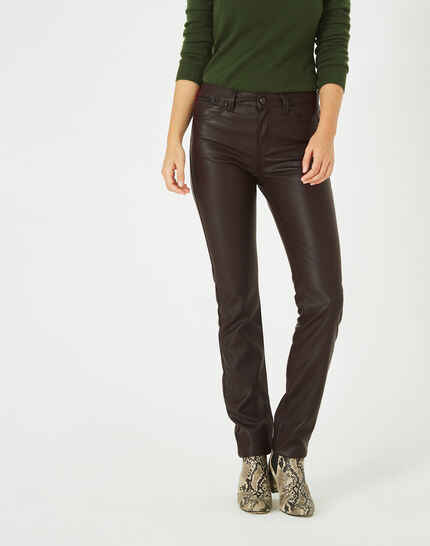 William slim-cut chocolate faux-leather trousers (1) - 1-2-3