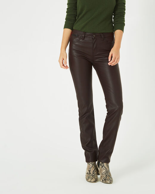 Pantalon chocolat slim faux cuir William (1) - 1-2-3
