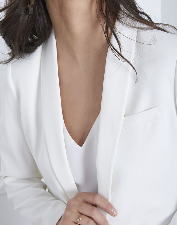 Veste blanche col chale Sabrina (3) - Maison 123