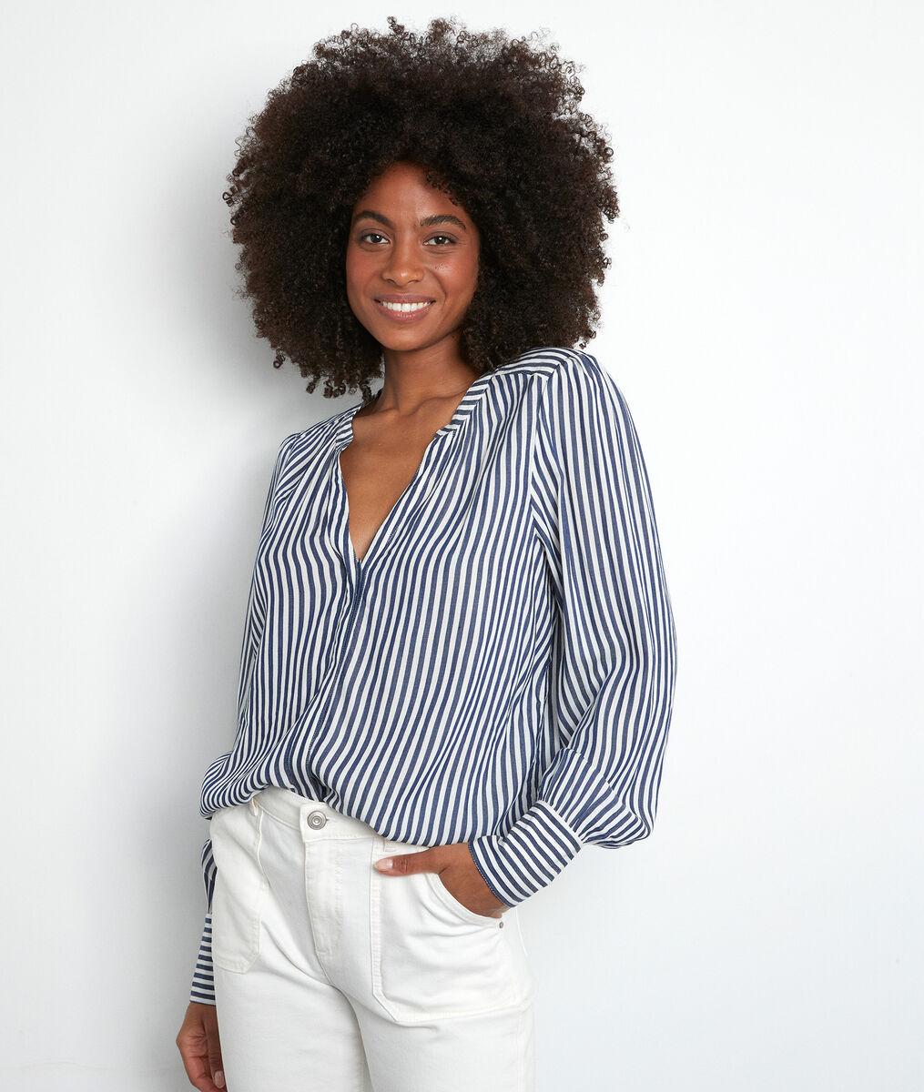 Soepel overhemd met witte en marineblauwe strepen Theonie PhotoZ | 1-2-3