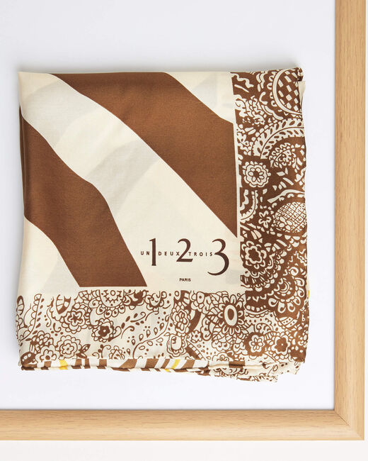 Abba caramel decorative printed square scarf in silk (1) - 1-2-3