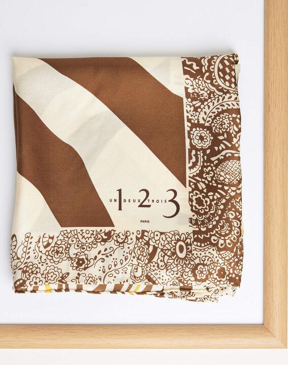 Abba caramel decorative printed square scarf in silk (2) - 1-2-3