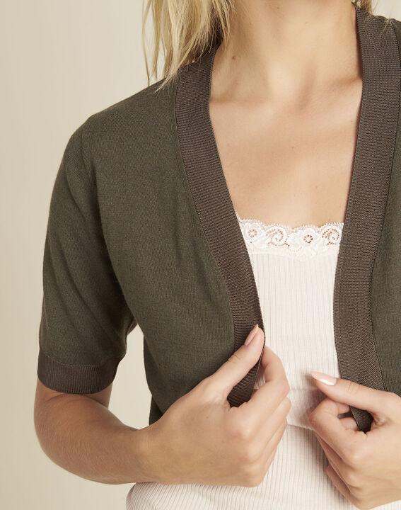 Basilic fine-knit khaki bolero (3) - 1-2-3