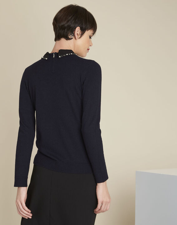 Bijoux navy wool pullover with Peter Pan jewel collar (4) - 1-2-3