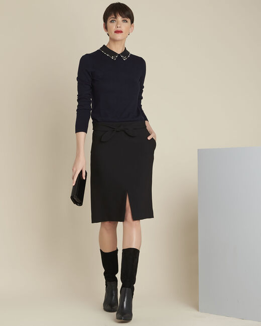 Agathe black skirt with knot and slit (1) - 1-2-3