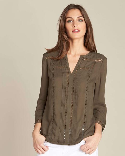 Graziella khaki blouse with guipure detailing (2) - 1-2-3