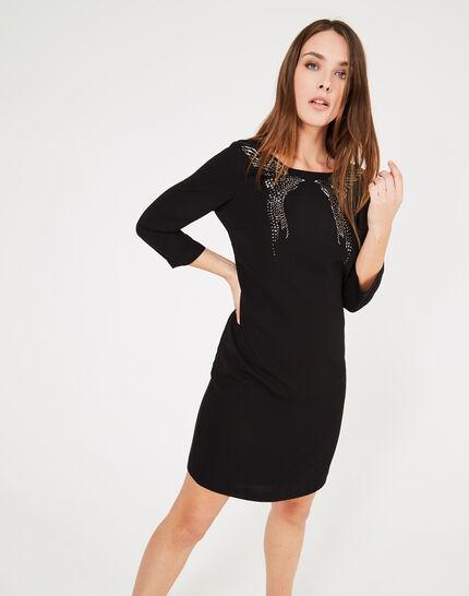 Schwarzes Kleid mit Adler-Stickerei Abby (2) - 1-2-3