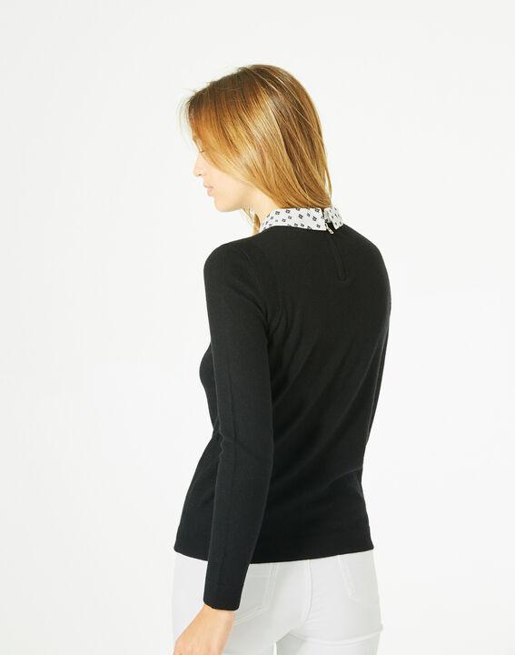 Pretty black sweater with stylish neckline (5) - 1-2-3