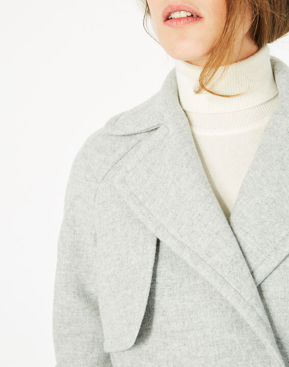 Manteau gris long façon trench Joy (4) - 1-2-3