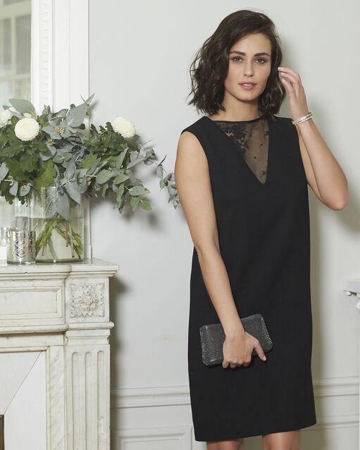 Robe noire bimatière col dentelle Dariane (2) - 1-2-3