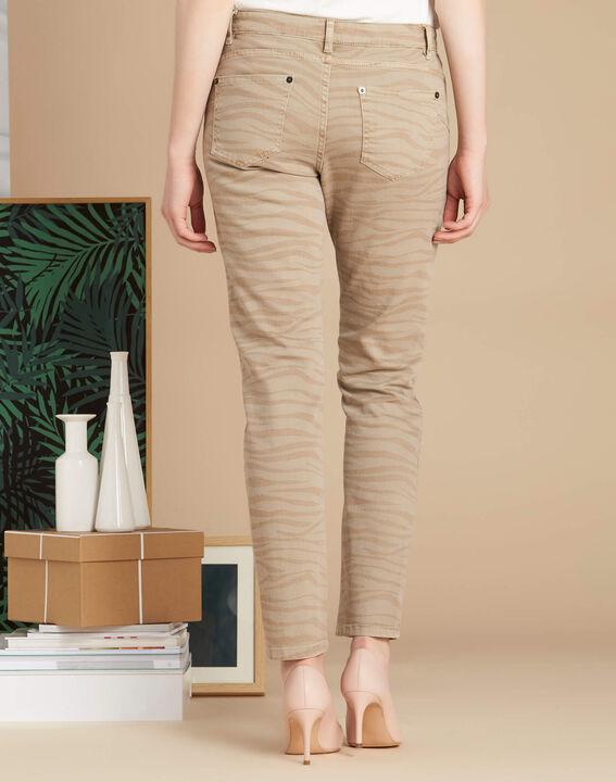 Beigefarbene Slim-Fit-Jeans mit Zebra-Print Passy (4) - 1-2-3