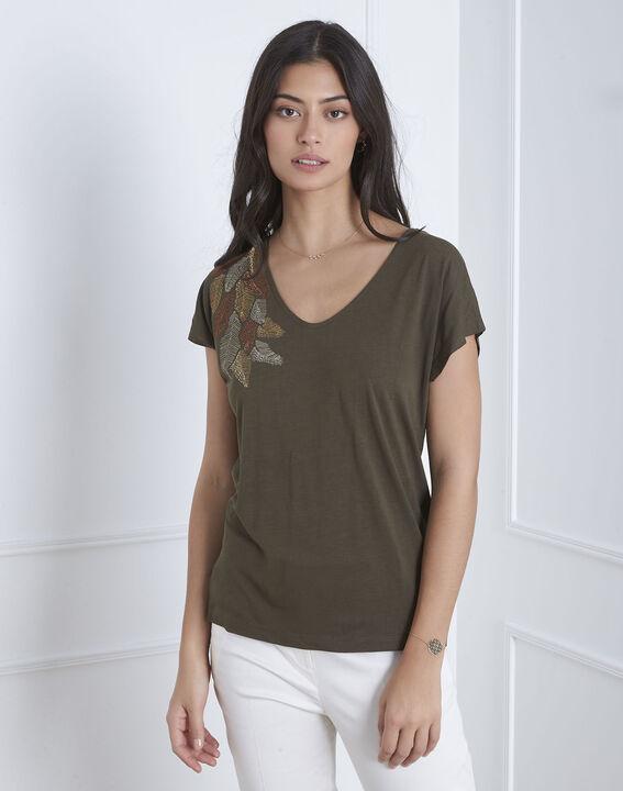 Tee-shirt kaki broderie plume Pandore (2) - Maison 123