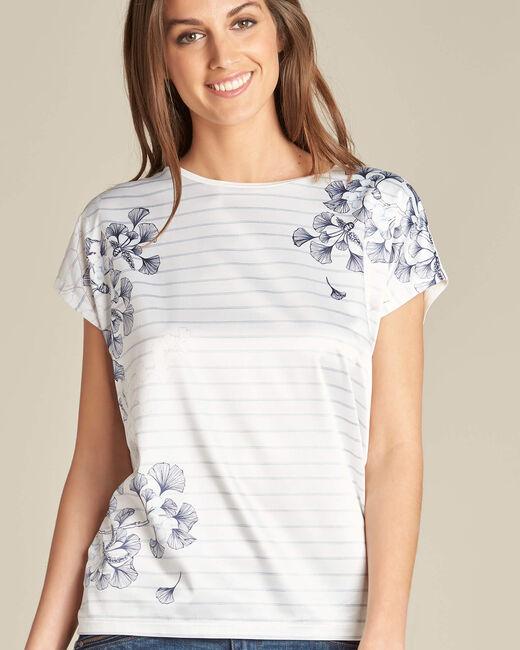 Tee-shirt rayé imprimé ginkgo Erbier (1) - 1-2-3