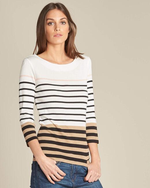 Ecrufarbenes Streifen-T-Shirt Esayat (2) - 1-2-3