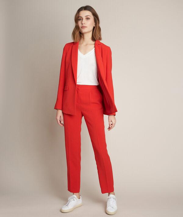 Pantalon en crêpe rouge Isaure PhotoZ   1-2-3