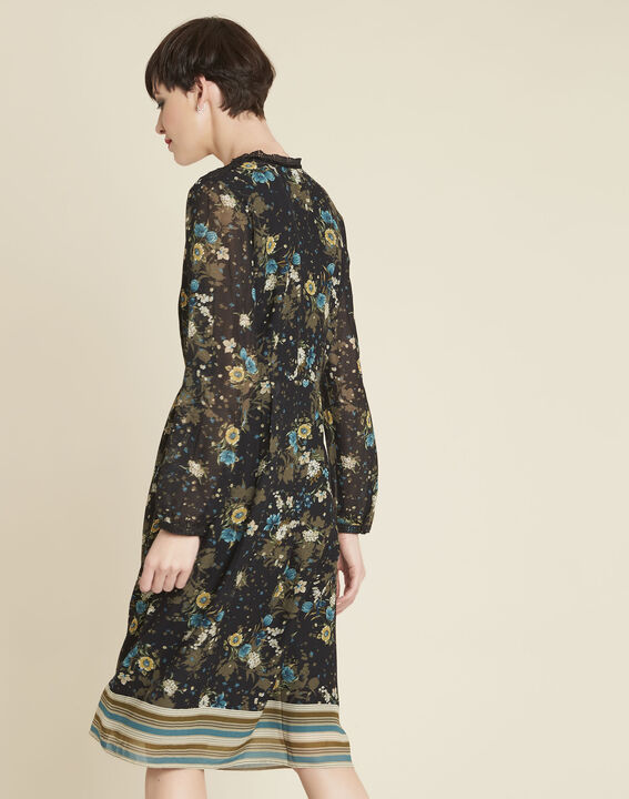 Dolores black dress with floral print (4) - 1-2-3