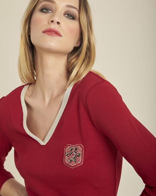 Tee-shirt cerise avec écusson encolure dorée manches 3/4 Glaive (1) - 1-2-3