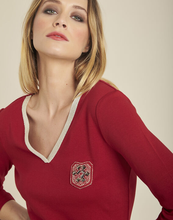 Glaive cherry T-shirt with golden neckline and 3/4 length sleeves (2) - 1-2-3