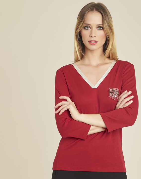 Glaive cherry T-shirt with golden neckline and 3/4 length sleeves PhotoZ | 1-2-3