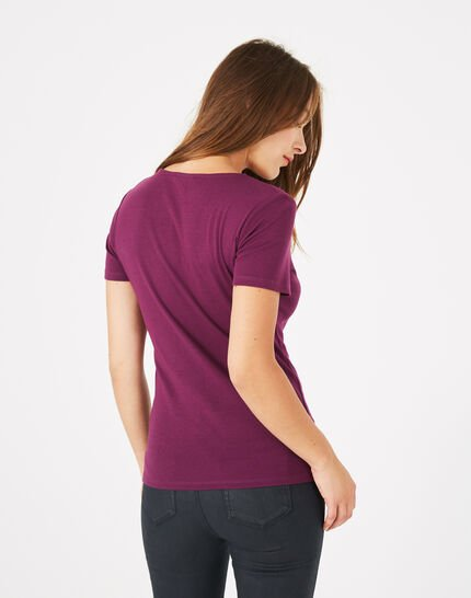 Tee-shirt cassis col strassé Neck (4) - 1-2-3