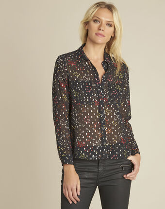 Corentine black printed blouse black.