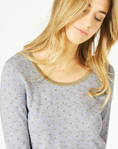 Prisme marl grey sweater with polka dot detailing and a rounded neckline light chine.