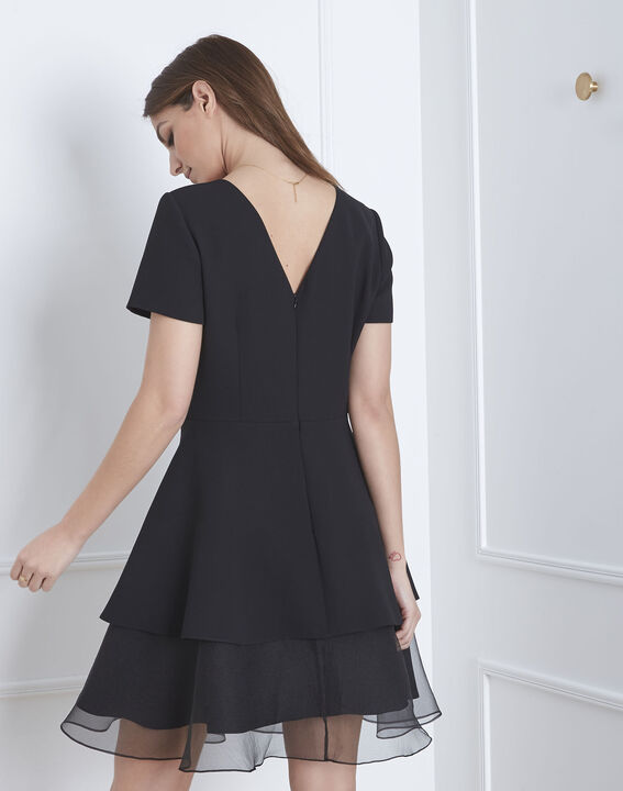 Schwarzes Kleid aus Bimaterial und Organza mit Volant Hypolite (4) - Maison 123