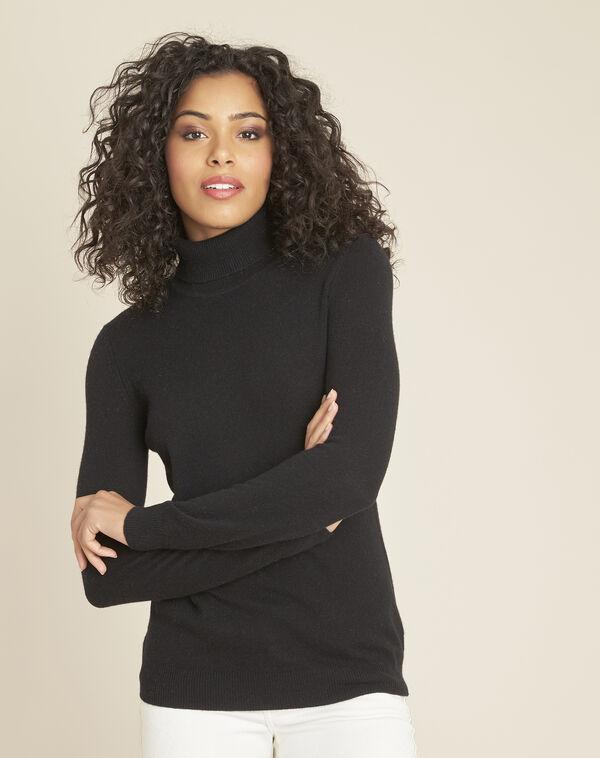 Zwarte trui van kasjmier met rolkraag Perceneige (1) - 37653
