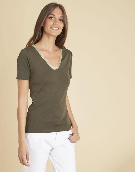 Kaki T-shirt met fantasierijke halsopening Etincelant (2) - 37653