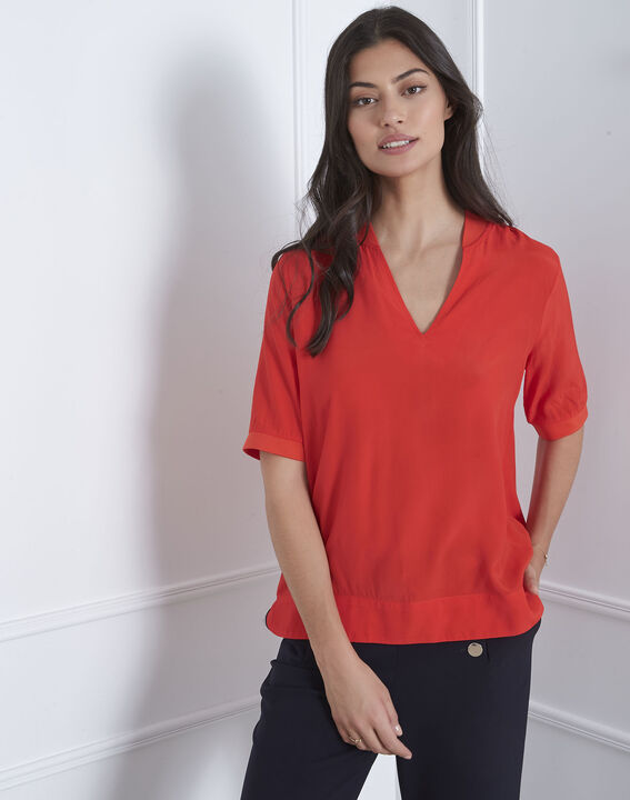Blouse rouge col V fluide Virginie PhotoZ | 1-2-3