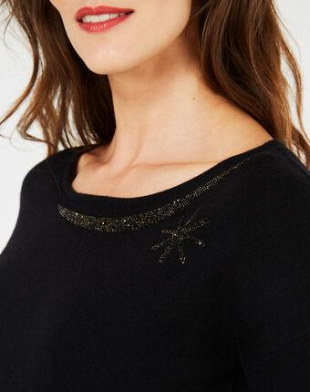 Pull noir orné de cristaux swarowski petrouchka noir.