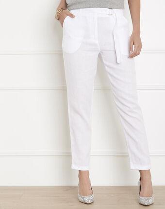 Pantalon blanc cigarette en lin gil blanc.