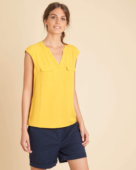 Genna yellow blouse with granddad collar (2) - 1-2-3