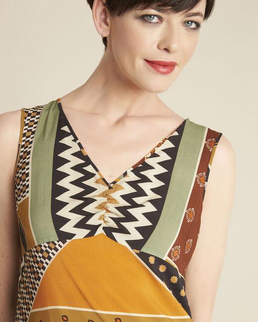 Gele jurk met etnische print Dulce (1) - 37653