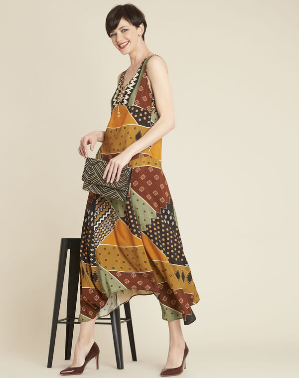 Dulce yellow dress with ethnic print (2) - 1-2-3