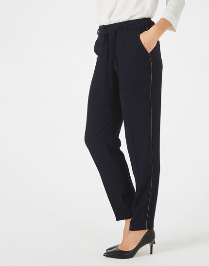 Pantalon bleu marine en crêpe Karoline (2) - 1-2-3
