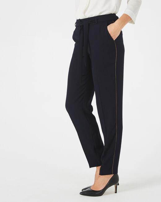Karoline navy blue crepe trousers (1) - 1-2-3
