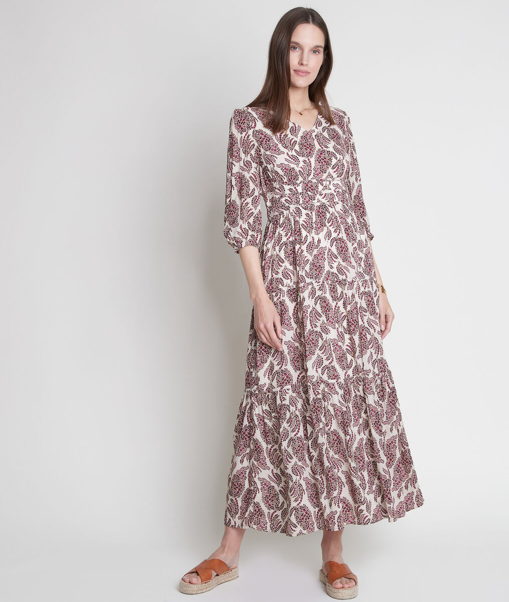 Robe longue rose imprimée Leonor PhotoZ | 1-2-3
