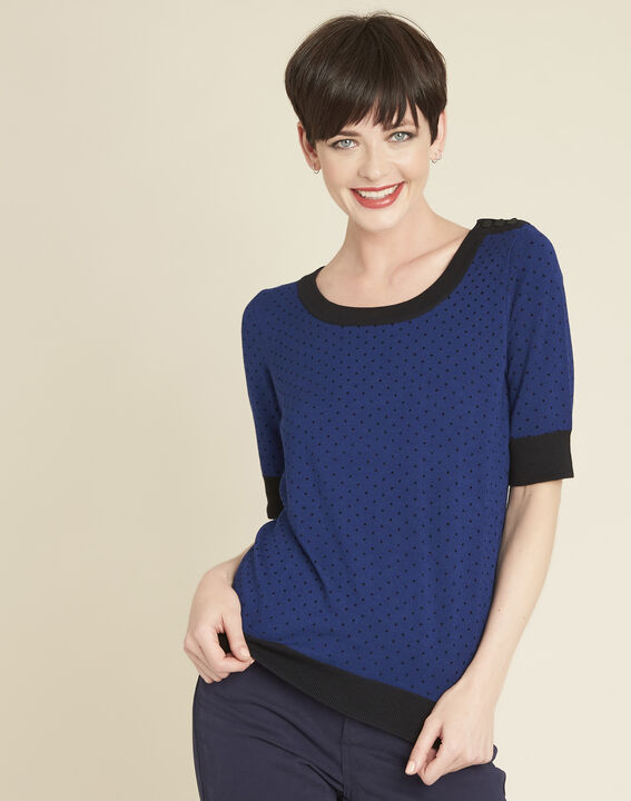 Becca blue polka dot sweater with contrasting trim (1) - 1-2-3