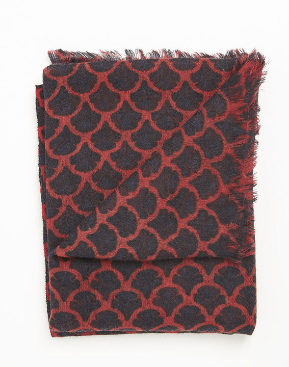 Fantin red printed wool scarf (3) - 1-2-3