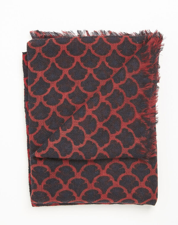 Roter Wollschal mit Druckmuster Fantin (1) - 1-2-3