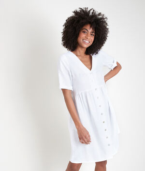 Robe en lin certifié boutonnée blanche Lalou