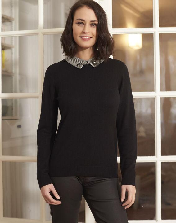 Pull noir encolure chemise bijou Baron PhotoZ | 1-2-3